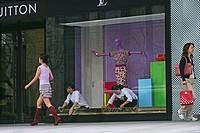 Vuitton Fashion, Plaza 66, window display, window decoration, window dressing, store, pedestrian, Nanjing Road
