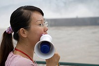 Tour Guide with Megaphone at Three Gorges Dam, Sandouping, Yichang, Xiling Gorge, Yangtze River, China