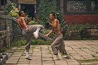 duel and training between two Shaolin monks, Shaolin Monastery, known for Shaolin boxing, Taoist Buddhist mountain, Song Shan, Henan province, China, ...