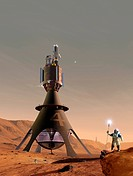 Space tourism on Mars. Artwork of a space tourist walking on the surface of Mars. Behind him are a series of martian space hotels. A future Mars space...