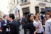 People in front of the Urban pub in the old town at rue Boucherie, City of Luxembourg, Luxembourg, Europe