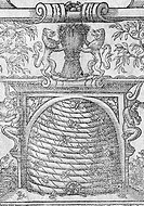 Beehive, historical artwork. Bees are seen in and around the beehive, which is set in a recess known as a bole. The rest of the artwork includes mythi...