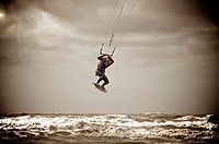 British kite surfing championships held on Blackpool beach,Lancashire,England