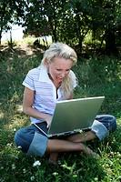 Woman mobile computer