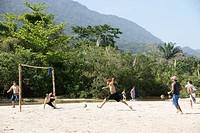 Beach, Game of Soccer, Trindade, Rio de Janeiro, Brazil