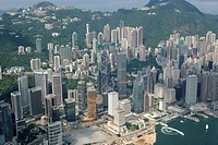 Aerial view over Central & Admiralty, Hong Kong