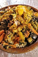 Close_up of a chicken tajine
