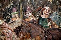 Detail from 14thC The Triumph of Death by Bonamico di Martino da Firenze Buffalmacco in the Camposanto, Pisa, Tuscany, Italy