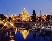 Illuminated Parliament House, Victoria City, Canada