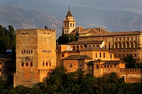 The Alhambra Palace from Mirador San Nicolas in the Albayzin Granada Spain