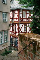 Half-timbered house in the medieval town of Marburg, Germany