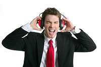 businessman headphones noise expression gesture isolated on white