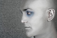 silver alien man profile portrait extraterrestrial male metaphor
