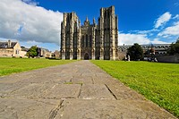 England, Somerset, Wells, The west front of Wells City Cathedral. The Cathedral and City are named after the wells or natural springs, which can be fo...