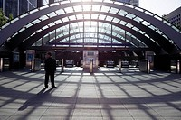 England, London, Canary Wharf, The entrance to Canary Wharf Station on the Jubilee Line in the Docklands area of London. It is the busiest underground...