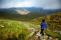 England, Cumbria, Lake District National Park, Lake District National Park. Hiker descending from tarn towards Dungeon Ghyll in the Great Langdale Val...