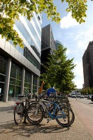 Bicycles parked Mitte Potsdamer Platz Berlin Germany