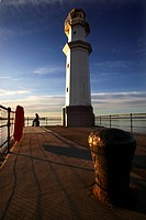 Scotland, City of Edinburgh, Edinburgh, A view of the lighthouse at sunset at the Port of Leith in Edinburgh