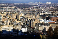 Scotland, City of Edinburgh, Edinburgh, A view from the castle over the New Town of Edinburgh