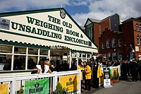 England, Liverpool, Aintree, The old unsaddling enclosure at Aintree Race Course during Grand National Saturday.