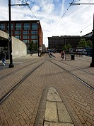 England, Greater Manchester, Manchester, Tram lines in Manchester city centre. Metrolink is Manchester´s revolutionary new transport system, which has...