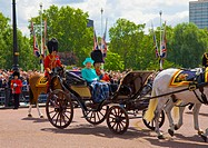 England, London, Horseguards Parade, Queen Elizabeth II and the Duke of Edinburgh in a horse drawn carriage at the Trooping the Colour ceremony, held ...