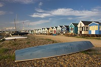 England, Dorset, Mudeford, Beach Huts at Mudeford at the entrance to Christchurch Harbour in Dorset