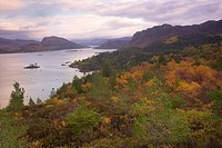 Scotland, Highland, Plockton, Early morning autumn view above Plockton on the shores of Loch Carron