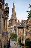England, Lincolnshire, Stamford, A view down Barn Hill toward All Saints Place in Stamford.