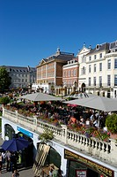 England, London, Richmond upon Thames, Summer visitors relaxing on the riverside terrace at Richmond upon Thames.
