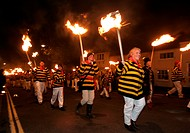 Lewes Bonfire Night Parade. A threefold celebration to mark the Gunpowder plot of 1605 by Guy Fawkes, the restoral of the protestant monarchy by Willi...