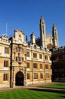 England, Cambridgeshire, Cambridge, The Old Court of Clare College with King's College Chapel towering in the background