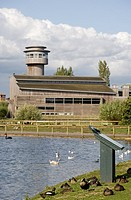 England, Gloucestershire, Slimbridge, The visitor centre at Slimbridge Wetland Centre, one of nine Wildfowl and Wetlands Trust WWT centres in the UK t...