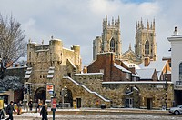 England, North Yorkshire, York, Bootham Bar and York Minster from Exhibition Square in winter.