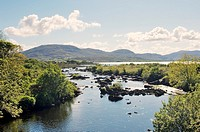 The Owenea River flows into the sea at Ardara, County Donegal, Ireland