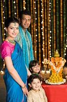 Family celebrating Diwali
