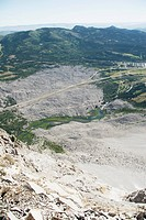 crowsnest pass, alberta, canada, looking down from the mountain peak at frank slide on turtle mountain