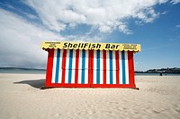 Colourful Beach Shack Selling Shellfish on Weymouth Beach, Dorset, England