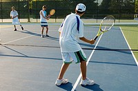 Group of tennis players on a court