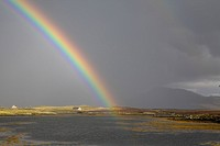 Rainbow and hills, North Uist, Hebrides