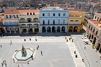 Plaza Vieja in Old Havana, Cuba with Buildings of 18th Century. The Plaza Vieja a must visit site for tourists