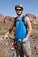 Mountain biker in rocky terrain