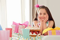 Young girl celebrating birthday
