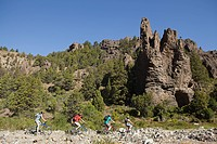 Mountain bikers in rocky landscape