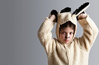 Young girl dressed up as sheep