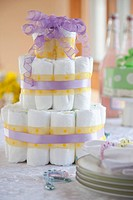 Stack of diapers at baby shower