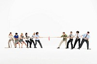 Businesspeople in tug of war