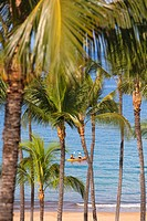 Hawaii, Maui, Kayakers off Grand Wailea Resort.