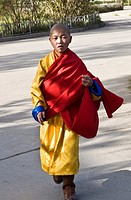 A young Buddhist monk on his way to the Gandan Khiid temple