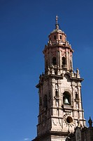 Mexico, Michoacan, Morelia, the Cathedral of Morelia, view from the Plaza de Armas.